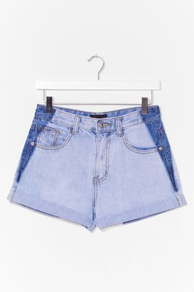 Nasty Gal Womens Wash How We Do It Two-Tone Denim Shorts - Light Blue