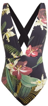 Haight Marina Floral-print Deep V-neck Jersey Swimsuit - Womens - Black Print