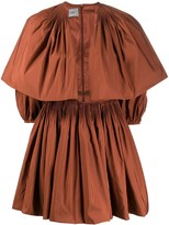 Valentino pleated puff-sleeve dress