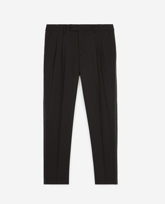 The Kooples Black wool trousers w/inlaid leather trims
