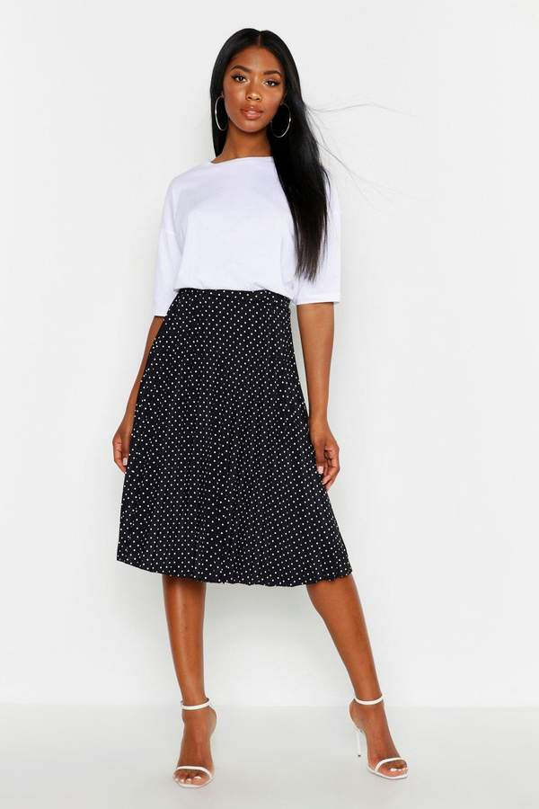 boohoo Polka Dot Pleated Midi Skirt