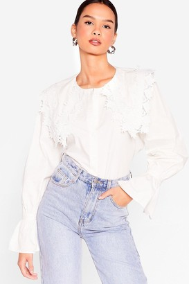 Nasty Gal Womens Time to Lace the Music Ruffle Blouse - White