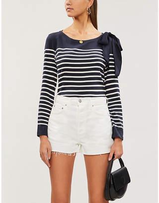 Claudie Pierlot Bow-detail striped cotton-blend jersey top