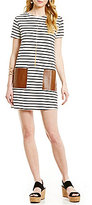 Soprano Striped Faux-Leather-Pocket Dress