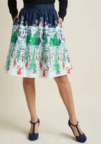 ModCloth Charming Cotton Skirt with Pockets in Winter Wonderland in L
