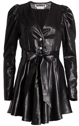 Rotate by Birger Christensen Emma Puff-Sleeve Leatherette Mini Dress
