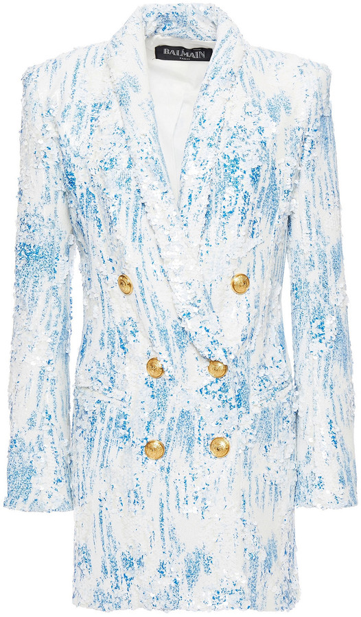Balmain Double-breasted Printed Sequined Stretch-tulle Blazer