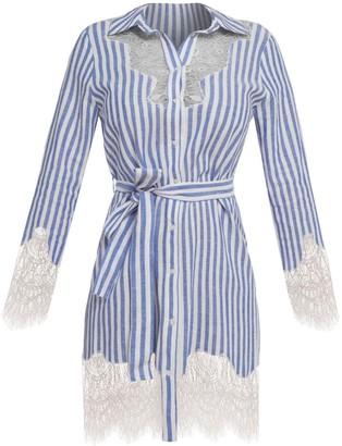Cliché Reborn Striped Linen Shirt Dress With Lace Trim