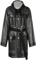Proenza Schouler White Label striped pattern belt raincoat