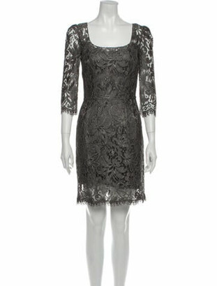 Dolce & Gabbana Lace Pattern Mini Dress Grey
