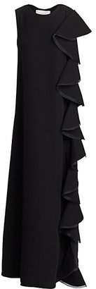 Valentino Side Ruffle Silk Gown