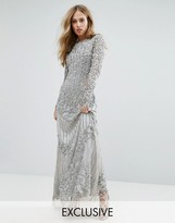 A Star Is Born Long Sleeved Maxi Dress With Allover Embellishment