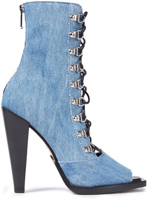 Balmain Clara Lace-up Faded Denim Ankle Boots