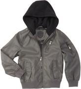 Urban Republic Dark Charcoal Faux Leather Hooded Jacket - Boys