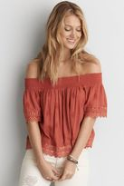 American Eagle Outfitters AE Lace Smocked Off-The-Shoulder Top