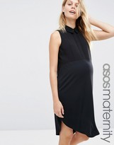 Asos Sleeveless Shirt Dress In Woven Mix