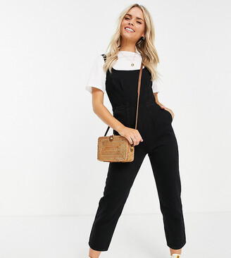 ASOS DESIGN Petite denim square neck fitted jumpsuit in washed black