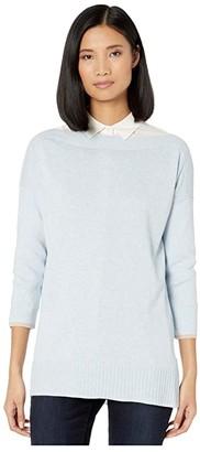 Lilla P Ribbed Sleeve Slit Neck Sweater (Pool) Women's Clothing