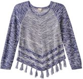 Mudd Girls 7-16 & Plus Size Fringe Raglan Sweater