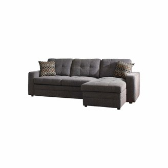 Benjara Button Tufted Sleeper Sectional Sofa with Lift Top Storage Chaise Gray
