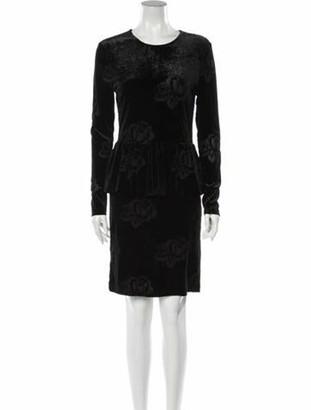 Ganni Floral Print Knee-Length Dress Black