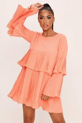 I SAW IT FIRST Coral Long Sleeve Pleated Swing Dress