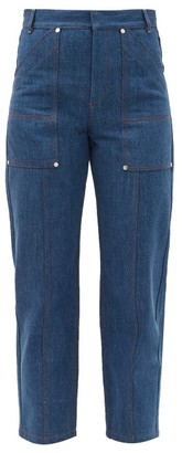 Chloé Contrast-stitch High-rise Straight-leg Jeans - Denim