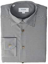 Eton Slim Fit Gingham Button and Piping Detail Shirt (Brown) Men's Clothing