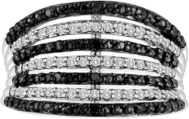 Black Diamond FINE JEWELRY 1/2 CT. T.W. White and Color-Enhanced 7-Row Band Ring