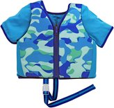 Aqua Leisure Sleeved Swim Training vest, SM, with zipper & safety strap, blue print Baby
