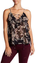 Soprano Sleeveless Lace-Up Floral Tank Top