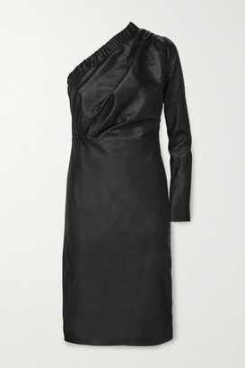 Dodo Bar Or Gorgiee One-shoulder Ruched Leather Dress - Black