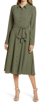 Rachel Parcell Tie Waist Long Sleeve Shirtdress