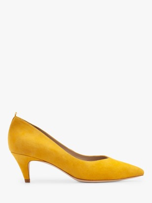 Boden Clara Suede Mid Heel Court Shoes, Maize
