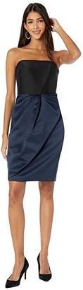 Halston Bow Drape Bonded Satin Dress (Dark Navy/Black) Women's Dress