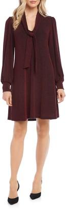 Karen Kane Taylor Long Sleeve Tie Neck Dress