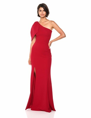 Dress the Population Women's Georgina One Shoulder Bow Detail Trumpet Gown Long Dress