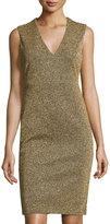 Catherine Malandrino Sleeveless Metallic V-Neck Sheath Dress, Gold