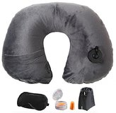 Lucear Inflatable Travel Pillow Set- Velvet Travel Neck Pillow, Sleep Mask, Earplugs - Including Carry Pouch for Convenient Storage - 3 Seconds Inflate Full (Gray)
