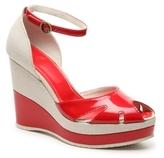 Hogan Final Sale Patent Leather Canvas Wedge Sandal