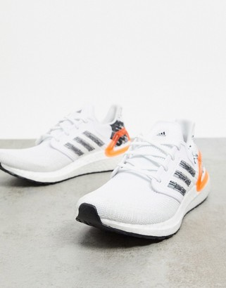 adidas Ultraboost 20 trainers in white black & signal coral