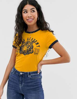 Brave Soul katla ringer tee with flock print-Yellow