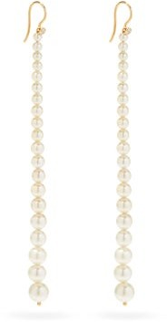 Mizuki Graduated Diamond, Pearl & 14kt Gold Drop Earrings - Pearl