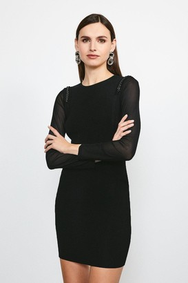 Karen Millen Chain Shoulder Mesh Sleeve Knitted Dress