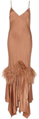 Michael Kors Pleated Feathered Satin Slip Dress