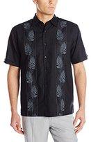 Cubavera Men's Short Sleeve Tropical Embroidery Woven Shirt