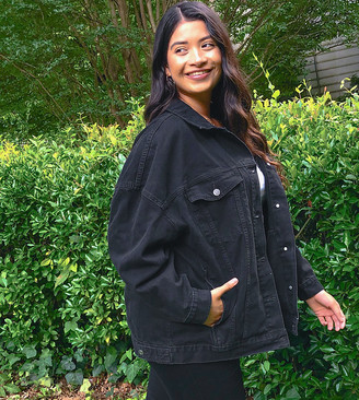 ASOS DESIGN Curve oversized denim jacket in black