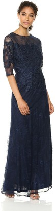 Emma Street Women's Long lace Gown with Illusion Neckline