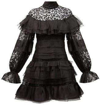 Carolina Herrera Floral-embroidered Tulle & Silk-organza Mini Dress - Black