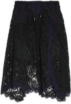 Sacai Asymmetric Cotton Twill-trimmed Lace Skirt - Black